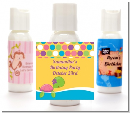 Sea Turtle Girl - Personalized Birthday Party Lotion Favors