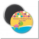 Sea Turtle Girl - Personalized Birthday Party Magnet Favors