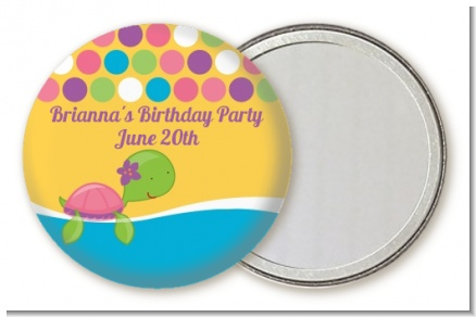 Sea Turtle Girl - Personalized Baby Shower Pocket Mirror Favors