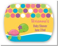 Sea Turtle Girl - Personalized Baby Shower Rounded Corner Stickers