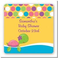 Sea Turtle Girl - Square Personalized Baby Shower Sticker Labels