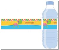Sea Turtle Girl - Personalized Baby Shower Water Bottle Labels