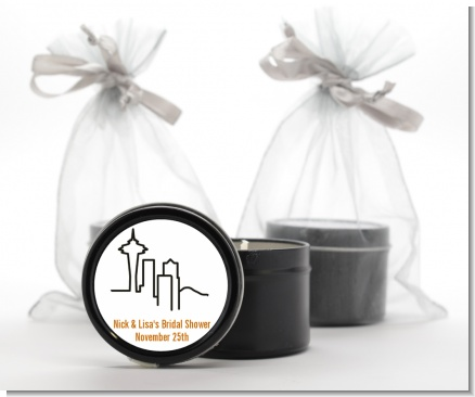 Seattle Skyline - Bridal Shower Black Candle Tin Favors