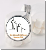 Seattle Skyline - Personalized Bridal Shower Candy Jar