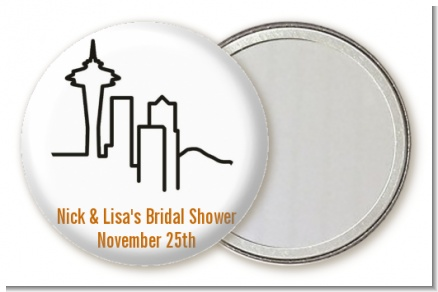 Seattle Skyline - Personalized Bridal Shower Pocket Mirror Favors