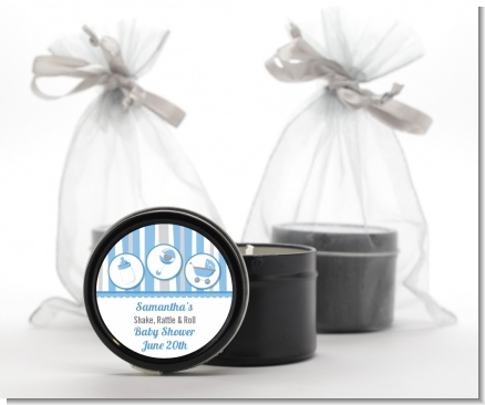 Shake, Rattle & Roll Blue - Baby Shower Black Candle Tin Favors