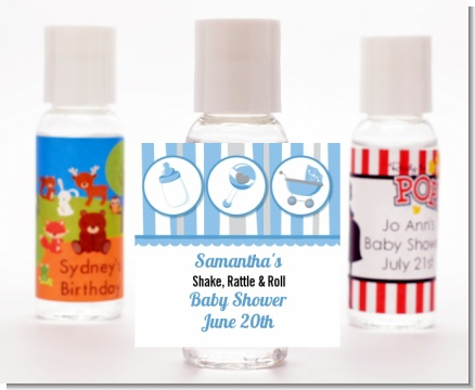 Shake, Rattle & Roll Blue - Personalized Baby Shower Hand Sanitizers Favors