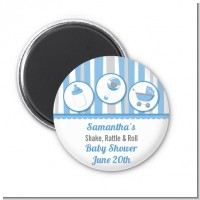 Shake, Rattle & Roll Blue - Personalized Baby Shower Magnet Favors