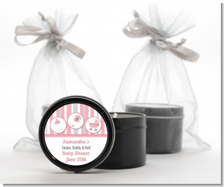 Shake, Rattle & Roll Pink - Baby Shower Black Candle Tin Favors