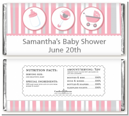 Shake, Rattle & Roll Pink - Personalized Baby Shower Candy Bar Wrappers