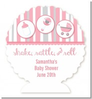 Shake, Rattle & Roll Pink - Personalized Baby Shower Centerpiece Stand