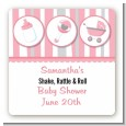 Shake, Rattle & Roll Pink - Square Personalized Baby Shower Sticker Labels thumbnail