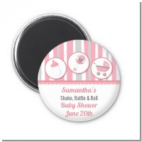 Shake, Rattle & Roll Pink - Personalized Baby Shower Magnet Favors
