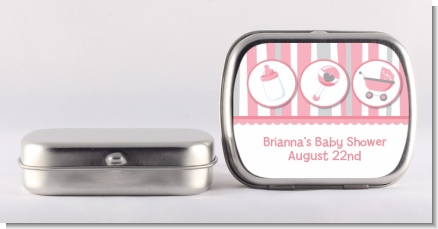 Shake, Rattle & Roll Pink - Personalized Baby Shower Mint Tins
