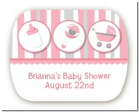 Shake, Rattle & Roll Pink - Personalized Baby Shower Rounded Corner Stickers