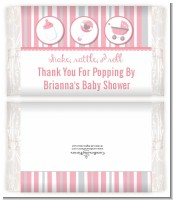 Shake, Rattle & Roll Pink - Personalized Popcorn Wrapper Baby Shower Favors