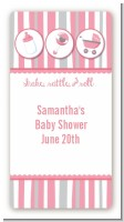 Shake, Rattle & Roll Pink - Custom Rectangle Baby Shower Sticker/Labels