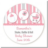 Shake, Rattle & Roll Pink - Round Personalized Baby Shower Sticker Labels