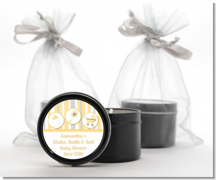 Shake, Rattle & Roll Yellow - Baby Shower Black Candle Tin Favors