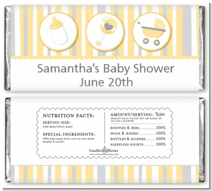Shake, Rattle & Roll Yellow - Personalized Baby Shower Candy Bar Wrappers