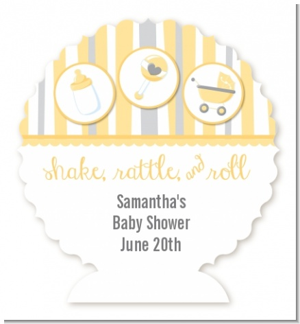 Shake, Rattle & Roll Yellow - Personalized Baby Shower Centerpiece Stand