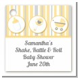 Shake, Rattle & Roll Yellow - Personalized Baby Shower Card Stock Favor Tags thumbnail