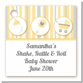 Shake, Rattle & Roll Yellow - Personalized Baby Shower Card Stock Favor Tags