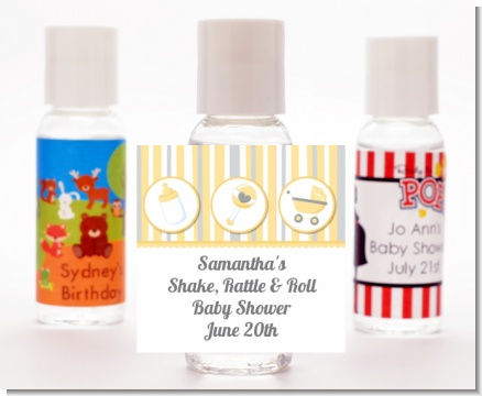 Shake, Rattle & Roll Yellow - Personalized Baby Shower Hand Sanitizers Favors
