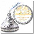 Shake, Rattle & Roll Yellow - Hershey Kiss Baby Shower Sticker Labels thumbnail