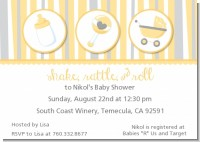 Shake, Rattle & Roll Yellow - Baby Shower Invitations