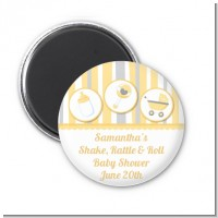 Shake, Rattle & Roll Yellow - Personalized Baby Shower Magnet Favors