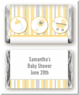 Shake, Rattle & Roll Yellow - Personalized Baby Shower Mini Candy Bar Wrappers