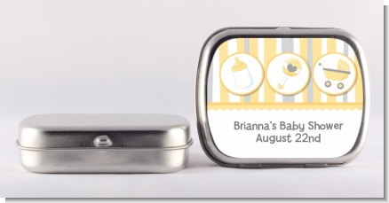 Shake, Rattle & Roll Yellow - Personalized Baby Shower Mint Tins