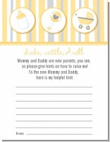 Shake, Rattle & Roll Yellow - Baby Shower Notes of Advice