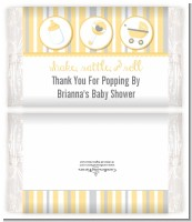 Shake, Rattle & Roll Yellow - Personalized Popcorn Wrapper Baby Shower Favors
