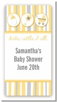 Shake, Rattle & Roll Yellow - Custom Rectangle Baby Shower Sticker/Labels
