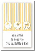 Shake, Rattle & Roll Yellow - Custom Large Rectangle Baby Shower Sticker/Labels
