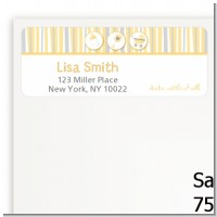Shake, Rattle & Roll Yellow - Baby Shower Return Address Labels