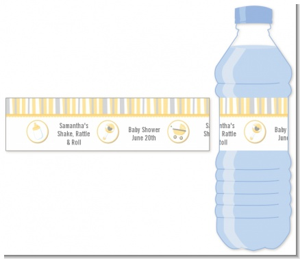 Shake, Rattle & Roll Yellow - Personalized Baby Shower Water Bottle Labels