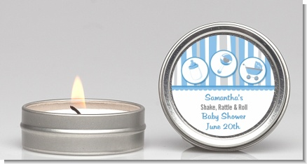 Shake, Rattle & Roll Blue - Baby Shower Candle Favors