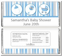 Shake, Rattle & Roll Blue - Personalized Baby Shower Candy Bar Wrappers
