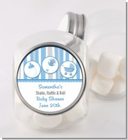 Shake, Rattle & Roll Blue - Personalized Baby Shower Candy Jar