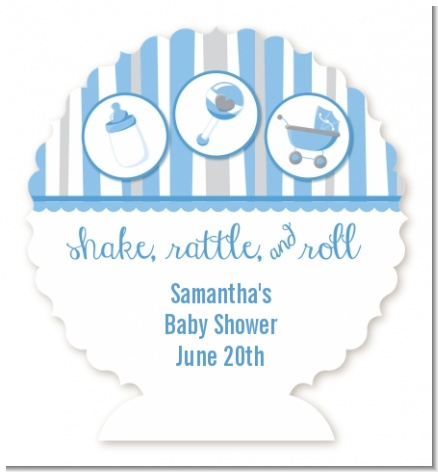 Shake, Rattle & Roll Blue - Personalized Baby Shower Centerpiece Stand