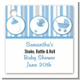 Shake, Rattle & Roll Blue - Personalized Baby Shower Card Stock Favor Tags thumbnail