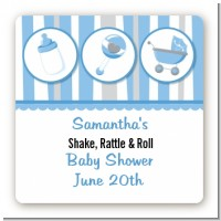 Shake, Rattle & Roll Blue - Square Personalized Baby Shower Sticker Labels