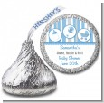 Shake, Rattle & Roll Blue - Hershey Kiss Baby Shower Sticker Labels thumbnail