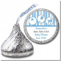 Shake, Rattle & Roll Blue - Hershey Kiss Baby Shower Sticker Labels