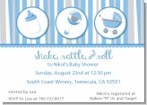 Shake, Rattle & Roll Blue - Baby Shower Invitations