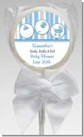 Shake, Rattle & Roll Blue - Personalized Baby Shower Lollipop Favors