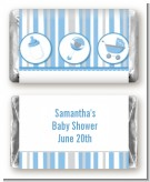 Shake, Rattle & Roll Blue - Personalized Baby Shower Mini Candy Bar Wrappers
